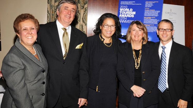 (L-R): Sponsors Janine Imbriaco, International Herald Tribune; and Tony Potter, Corinthia Hotels; honorees of the 2010 World Tourism Awards Elsie McCabe Thompson, president, Museum For African Art and Betsy O'Rourke, SVP marketing, Royal Caribbean International; and sponsor Greg Hybl, American Express.