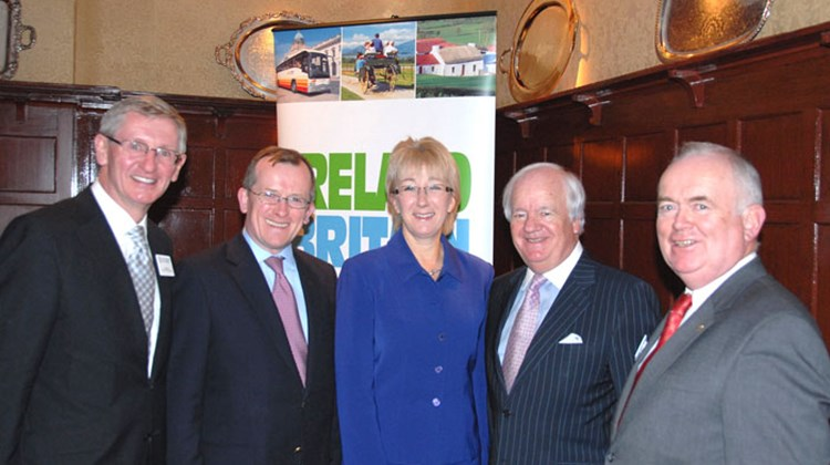 CIE Tours celebrated a successful 2010 at the 21 Club in New York. Shown (l-r): Noel Kilkenny, Consul General of Ireland in N.Y; Niall Gibbons, Tourism Ireland; Ireland Tourism Minister Mary Hanafin; Brian  Stack, president & CEO of CIE Tours; and Joe Byrne, EVP, US & Canada, Tourism Ireland.