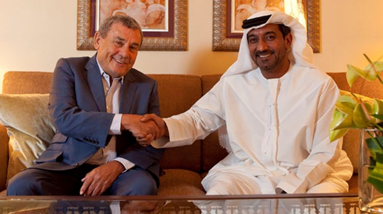 Sheikh Bin Saeed Al Makthoum and Sol Kerzner, CEO and Chairman of Kerzner International, celebrate the opening of the One&Only The Palm in Dubai.