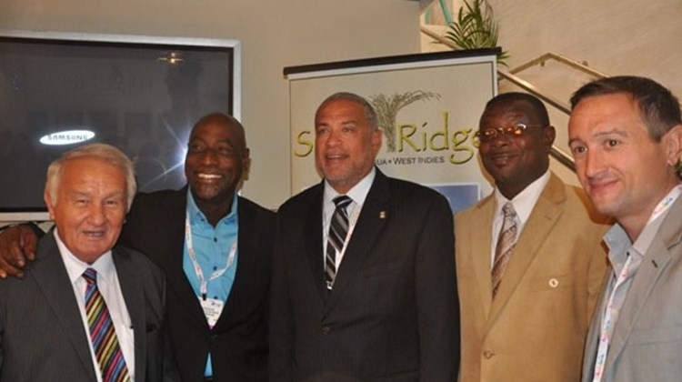 Antigua's Sugar Ridge hosted a reception at World Travel Market. (L-R): Dan McCauley, Vivian Richards, Minister of Tourism John Maginley, Ritchie Richardson and Aidan McCauley, owner of Sugar Ridge.