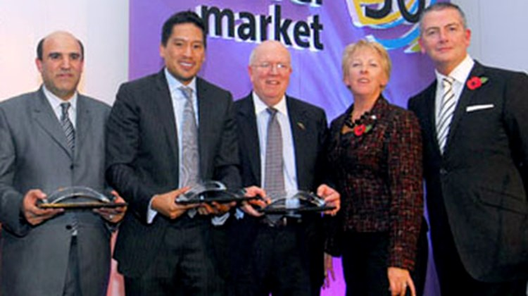 The 2009 World Tourism Awards were presented to Nuri Shadi, Cyrene, Libya; Bruce Poon Tip, Gap Adventures; and Bruce Beckham, Tourism Cares. They are joined by Wendy Hartley and Glenn Carroll.