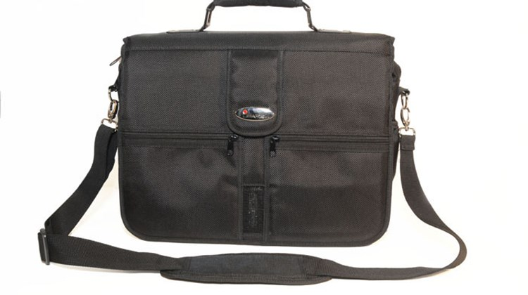 This messenger bag, equipped with a personal alarm system loud enough to discourage any would-be thief, is designed to keep safe your electronic gear, important documents and valuables. Measuring 18 by 7.5 by 15 inches, the ISafe Laptop Bag has seven easily accessible compartments, a padded laptop compartment with an elasticized compression strap that can accommodate laptops with screens up to 15.4 inches and durable zinc die-cast hardware.