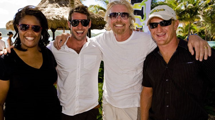 The BVI Kite Jam Team (L-R): Abigail O'Neal, communications dir.; Scotty Wilson, events dir.; Richard Branson; Charlie Smith, founder and director.