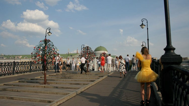 A small footbridge in Moscow where couples getting married come to attach symbolic padlocks