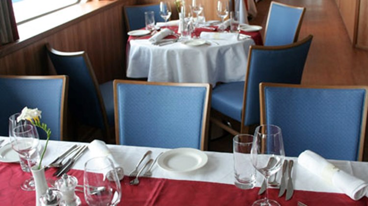 The restaurant onboard the Pakhomov, where most meals are served