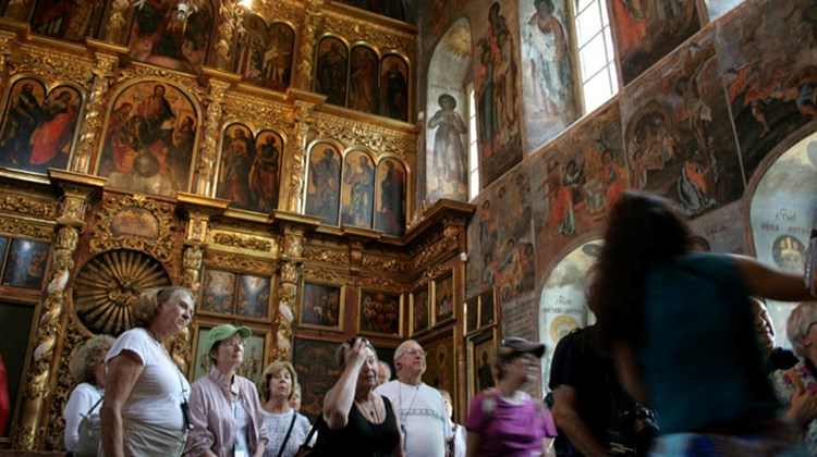 Touring an orthodox church in Uglich, Russia
