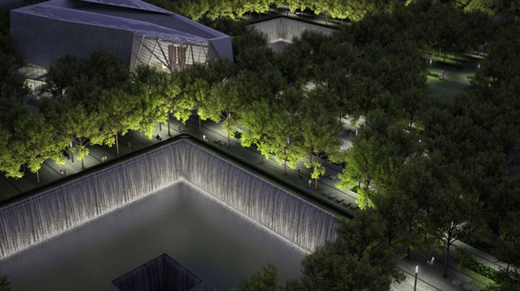 A rendering of the memorial at night.