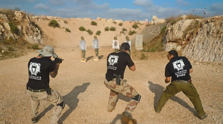 Israeli operator LionOps is hoping adventurous vacationers will sign up for military-style training in one of the world's tensest regions. Pictured here, participants practice on the shooting range at LionOps' West Bank training facility