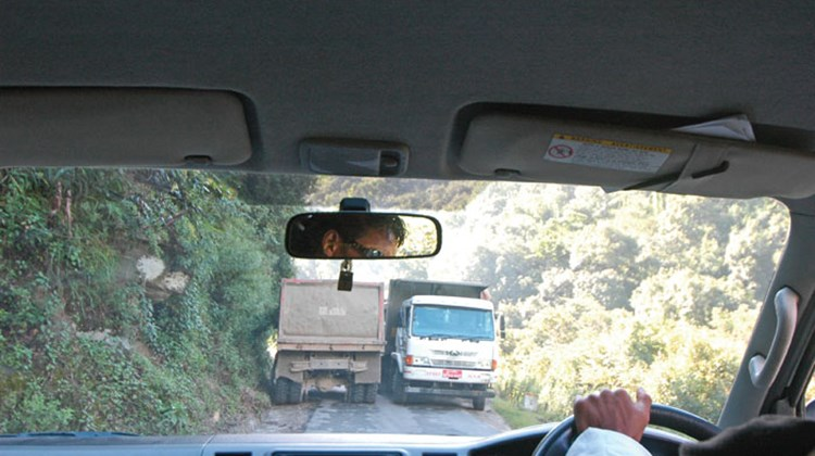 Bhutan's National Highway is a tight squeeze in some areas