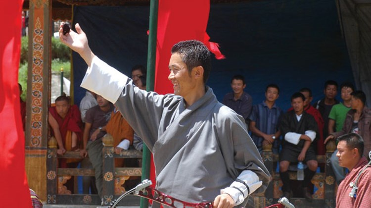 An archer at Thimphu's Changlimithang Stadium