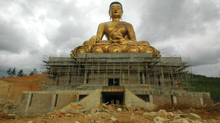 A 150-foot Buddha under construction on a mountain above Bhutan's capital, Thimphu, will be the 17th largest Buddha in the world