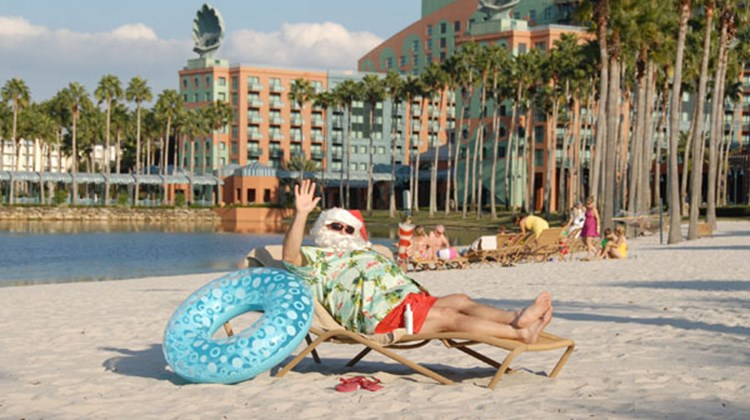 Santa Claus took some time off before Christmas and visited the Walt Disney World Swan and Dolphin Resort.