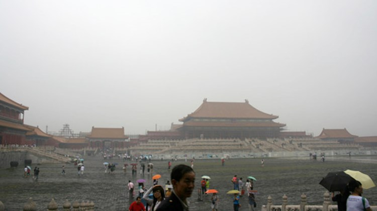 A dark and quiet day at the Forbidden City.