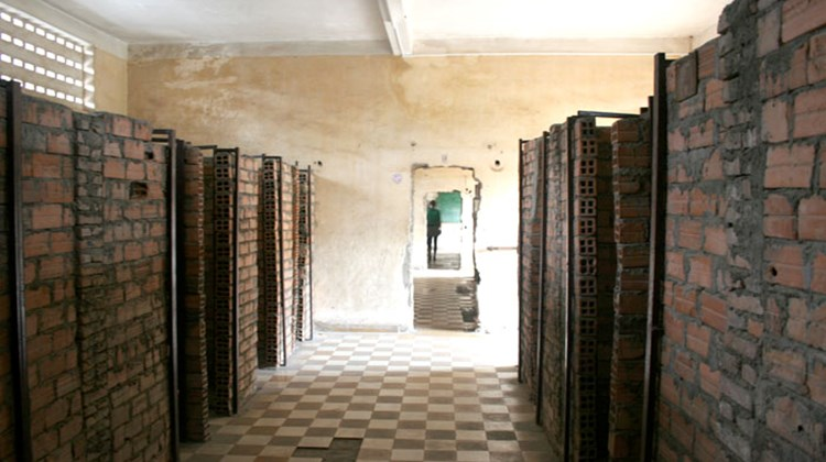 Holding cells at Tuol Sleng Genocide Museum, also known as the notorious security prison 21 (S-21) and killing fields in Phnom Penh, Cambodia