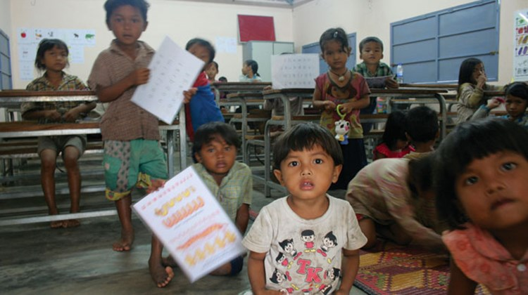 Children at the Ama Waterways-sponsored English-language school in Siem Reap, Cambodia