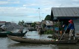 The Tonle Sap Lake floating village community in Cambodia