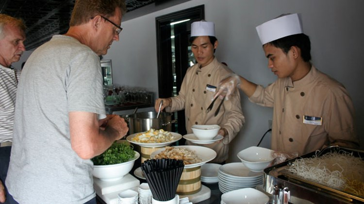 Serving up Asian delights for lunch onboard the AmaLotus