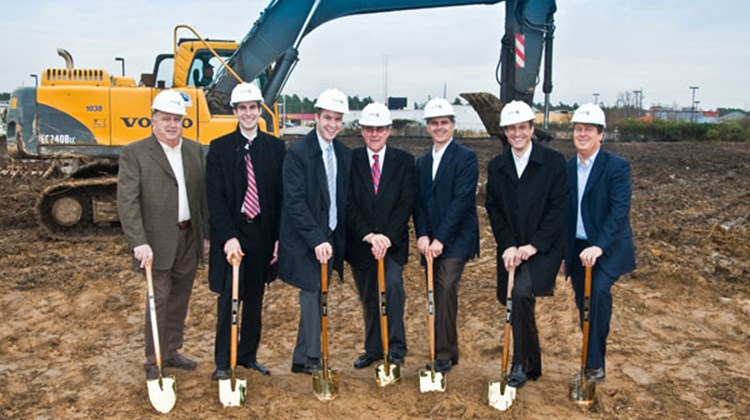 Hilton executives at the groundbreaking of the Home2 Suites by Hilton Fayetteville, N.C. (from third from right): Chris Nassetta, Paul Brown and Bill Duncan.