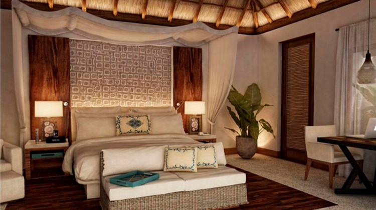 The interior design of one of the new villas at the Viceroy Riviera Maya