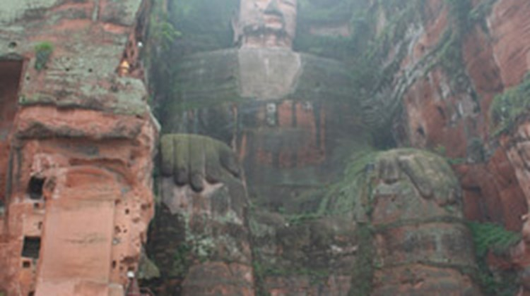 The 233-foot-tall Leshan Giant Buddha is a major tourist attraction in the Sichuan province. The Buddha was unharmed by the 2008 earthquake.
