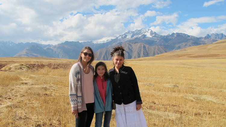 New friends: Eliana (left) and Gavriela Langer with Celeste Ruggia, a new friend they met on the trip