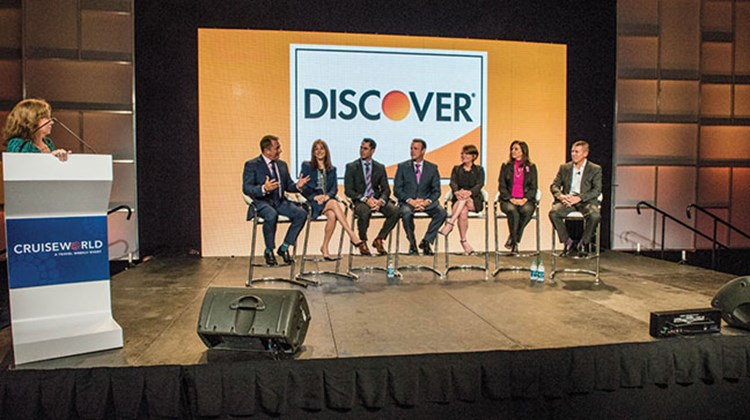 Meet the Masterminds panel, from left: Chris Austin of Starwood Hotels, Vicki Freed of Royal Caribbean, Ken Muskat of MSC, Brian O'Connor of Princess and Cunard, Joni Rein of Carnival, Dondra Ritzenthaler of Celebrity and Andy Stuart of Norwegian