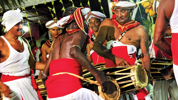Percussionists keep the energy level high at Kandy's major site, the Temple of the Tooth