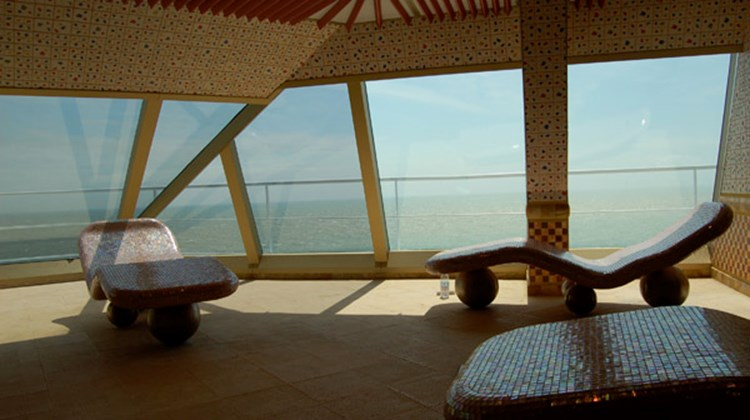 From the heated loungers in the Splendor's Cloud 9 thermal suite, guests have commanding views over the sea.