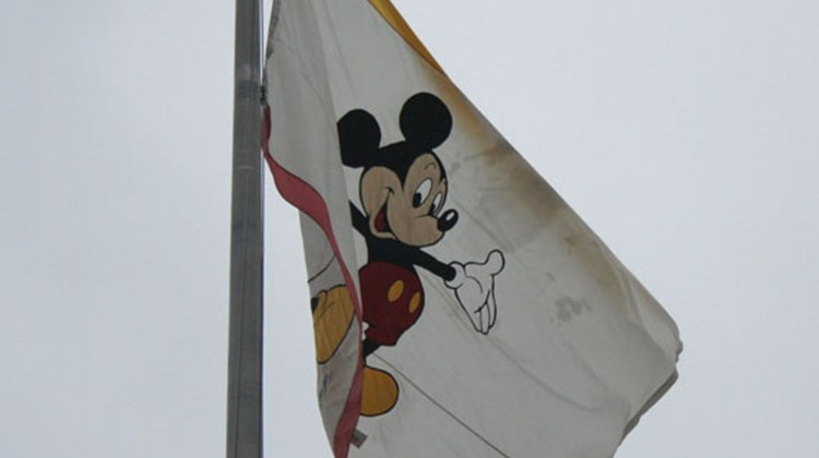 A Mickey Mouse flag flies above the Walt Disney Studios lot in Burbank.