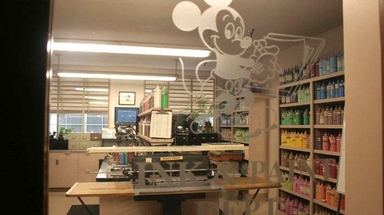 The ink and paint department at Walt Disney Studios, where colors for many of the animations and recreations are mixed and made.