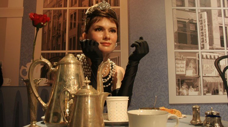 "The ""Breakfast at Tiffany's""-era Audrey Hepburn figure at Madame Tussauds Wax Museum in Hollywood."