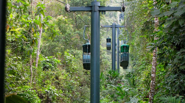 View of the gondolas on the aerial tram at the Rain Forest Adventures Pacific Park.