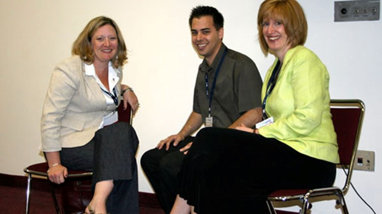 "From left, Jennifer Kruse, travel consultant, Journeys Travel, Yorktown Heights, N.Y.; Rich Ferrucci, Unforgettable Vacations, Newfield, N.J.; and Virginia Barthel, owner of Booked by Barthel in Woodstock, N.Y., at the ""Don't Work Home Alone: Strategies for Staying Connected"" session."