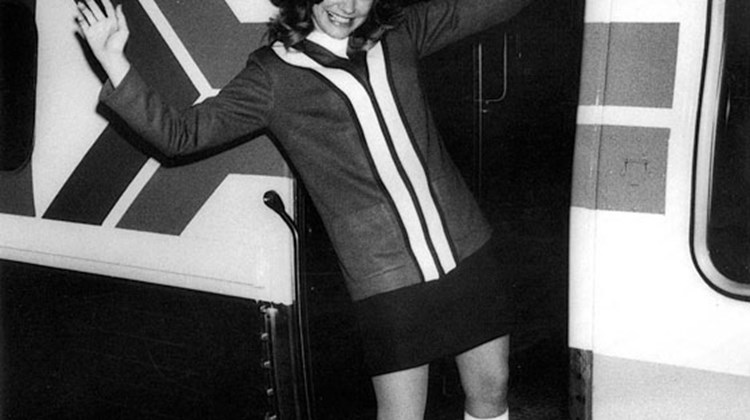 Train attendant, Patty Saunders, in the early days