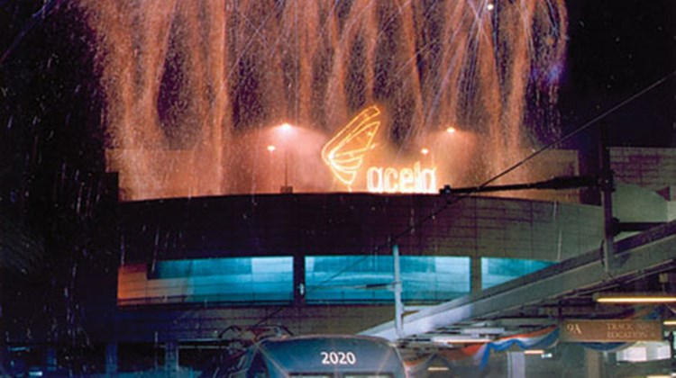Fireworks during the inauguration of Acela service in Boston, December 2000.