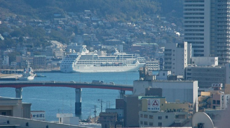 The Azamara Quest in port in Nagasaki on the day the earthquake struck off the northeastern coast.