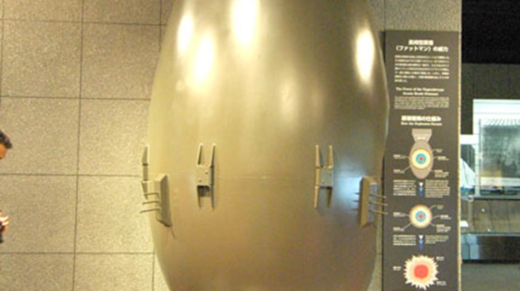 "A model of ""Fatboy,"" the bomb that exploded over Nagasaki, in that city's Atomic Bomb Museum."