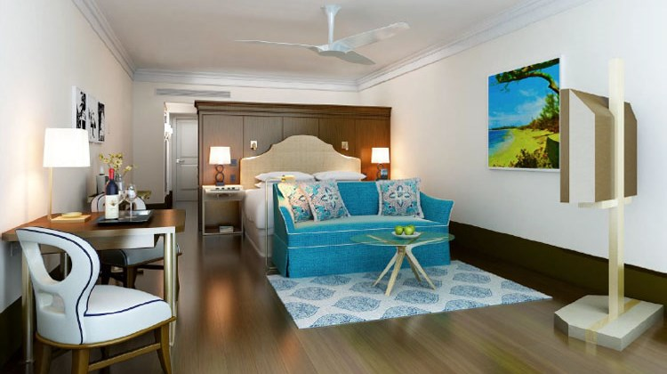 A guestroom at the Rosewood at Baha Mar.