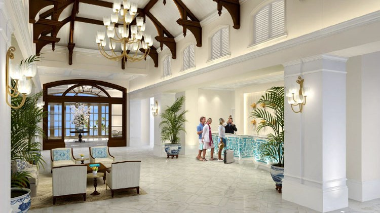 The lobby at the Rosewood at Baha Mar.
