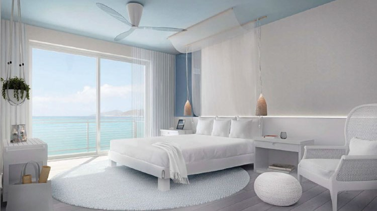 A guestroom at the Mondrian at Baha Mar.
