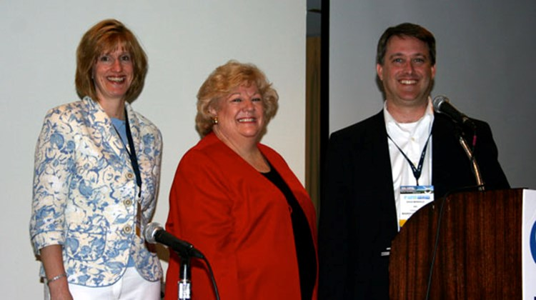 "From left, Virginia Barthel, owner of Booked by Barthel in Woodstock, N.Y.; Kathy Sudeikis, vice president, corporate relations for All About Travel in Kansas City, Mo.; and Doug Mangold, director, product management, industry products and services, ARC, moderator of the ""Service Fees: It's Your Business, It's Your Bottom Line"" session."