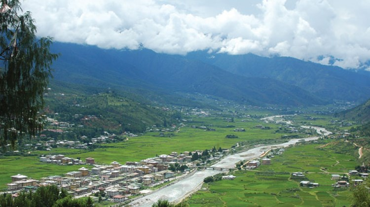 The town of Paro, in a valley cut by the Wang Chhu river, as seen from the National Museum.
