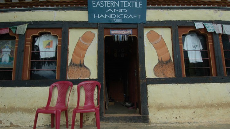 Phalluses painted around the entrance of a handicraft shop near Paro.
