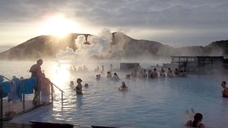 Visitors take a midwinter outdoors soak in the geothermal waters of the popular Blue Lagoon attraction near Reykjavik.