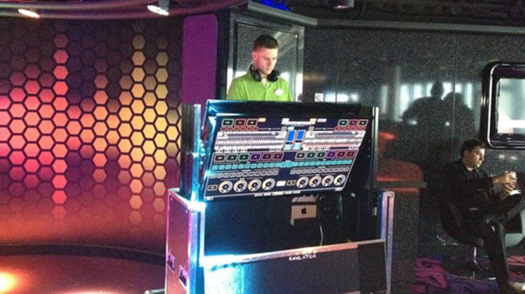 A DJ in the Entourage teen club on the Norwegian Breakaway. TW photo by Tom Stieghorst