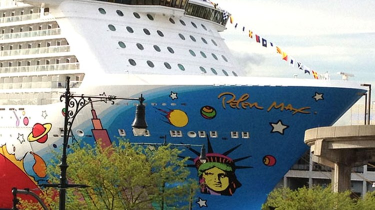 The Breakaway's hull design by pop artist Peter Max features iconic images of New York painted in an array of vivid colors. Breakaway's sister ship, the Norwegian Getaway, is under construction in Germany and is expected to begin cruising year-round from Miami next January. TW photo by Tom Stieghorst