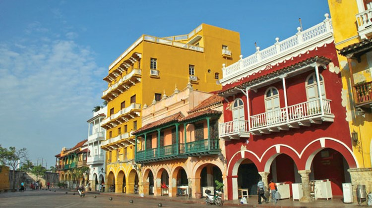 Houses in the Plaza de los Coches in Cartagena's Old Town.
