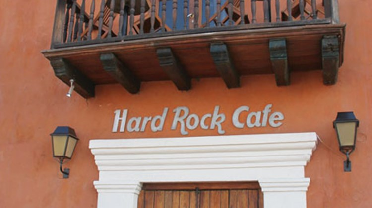 A Hard Rock Cafe right in the middle of Cartagena, on the Plaza de la Aduana.