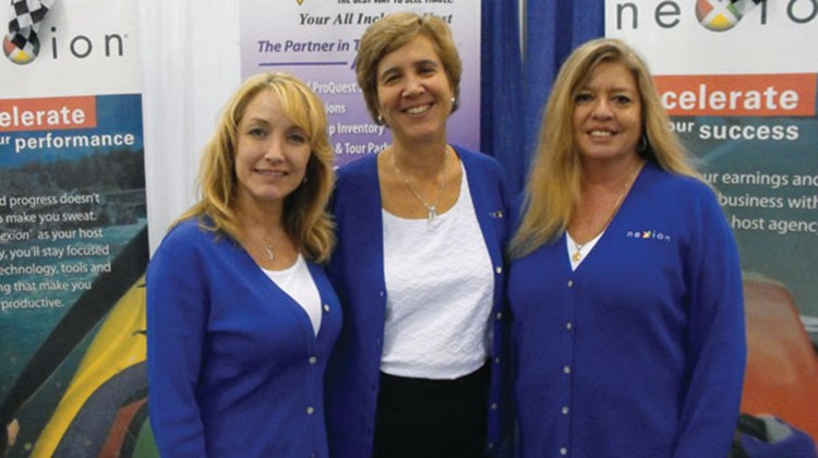 At the Nexion booth, from left: Wendy Graziano, Jackie Friedman and Paula Davenport.