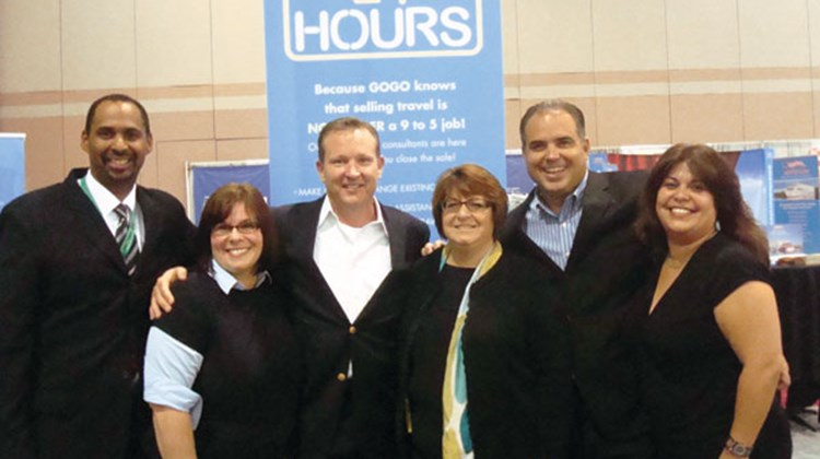 From left: Frank Corzo and Kelly Segnello of Gogo Worldwide Vacations; John Lovell of Vacation.com; Michele Kish of Gogo; and Stephen McGillivray and Cindy Rollins of Vacation.com.